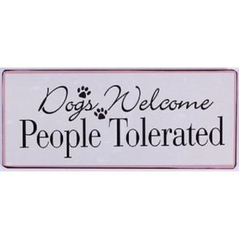 """Blechschild """"Dogs Welcome,..."""