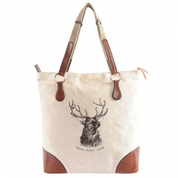 "Tote Bag ""Stag head"", ecru"